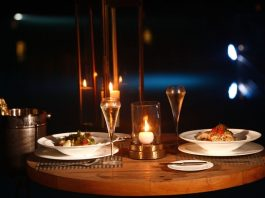 Romantic candle light dinner date